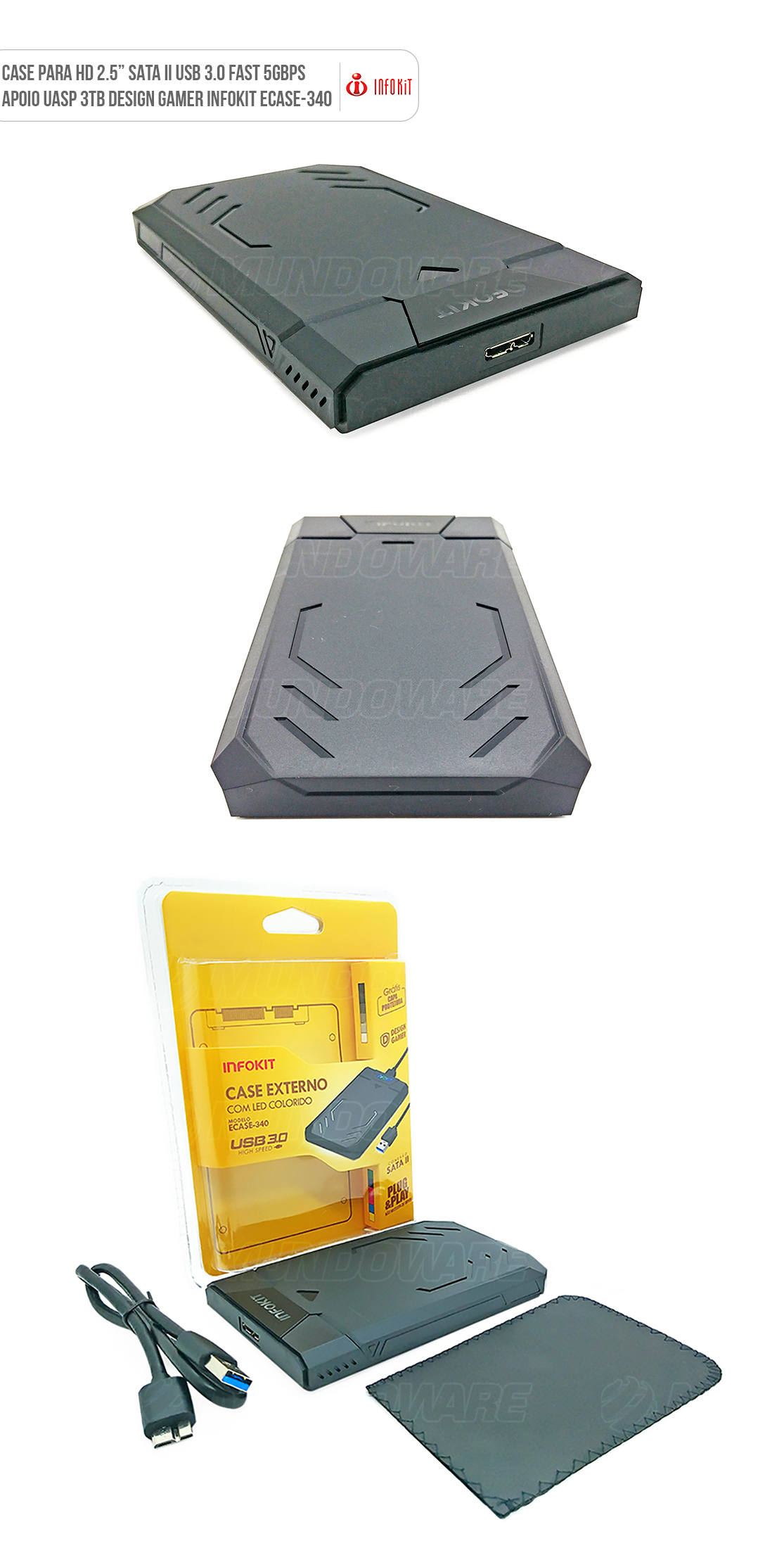 Case USB 3.0 para HD Externo SATA II Capa Protetora