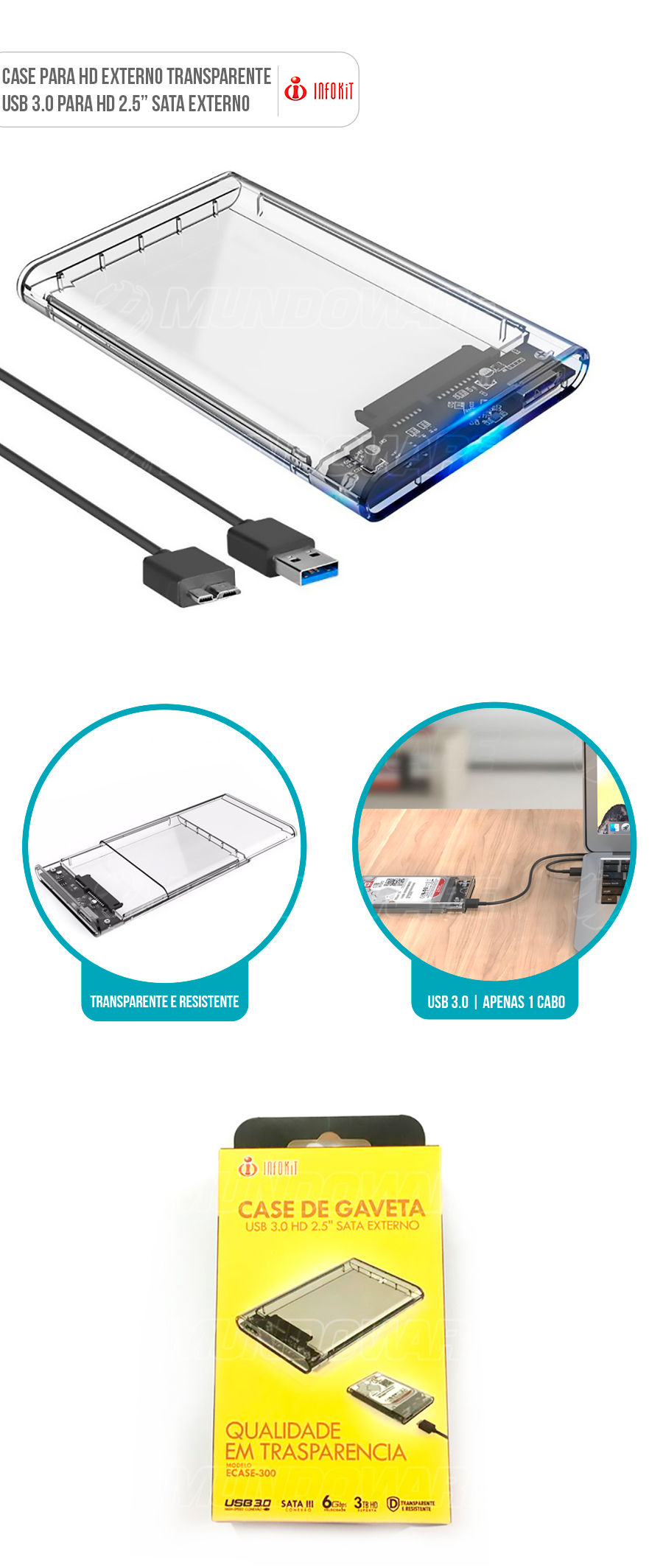Case para HD Externo SATA 2.5 usb 3.0 transparente
