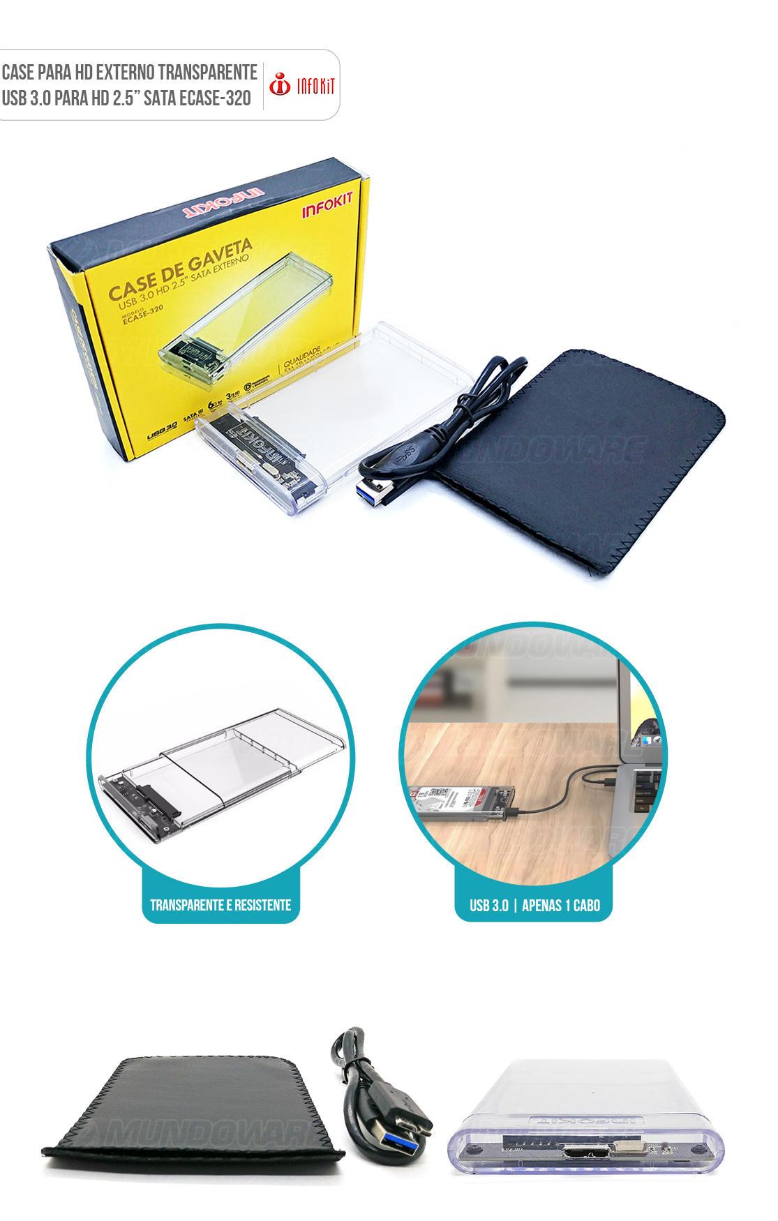 Case externo HD 2.5 usb 3.0 transparente com capa proteção