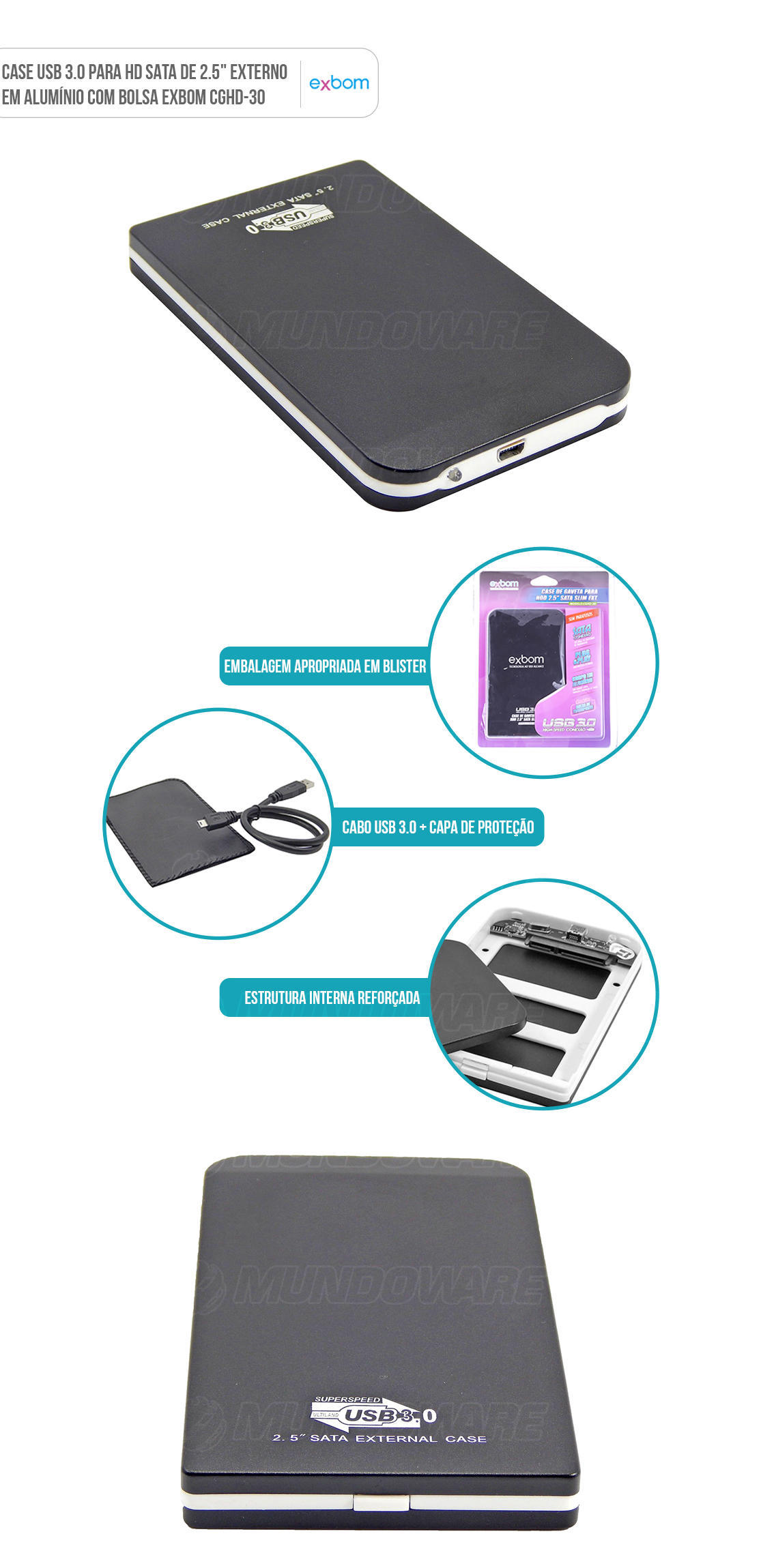 Gaveta HD Externo USB 3.0 conector Azul alta velocidade SATA de Notebook 2.5 polegadas