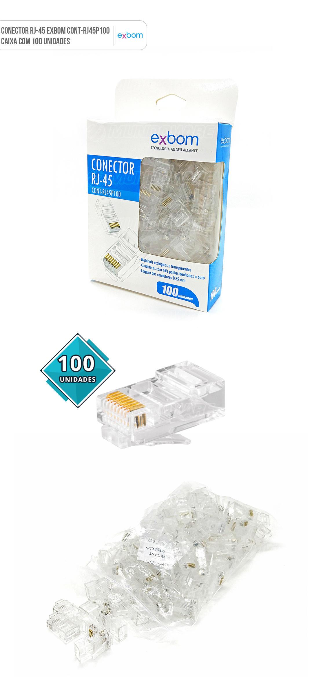 Plug Conector RJ45 8x8 CAT5E para Rede com Fio / Pacote com 100 peças