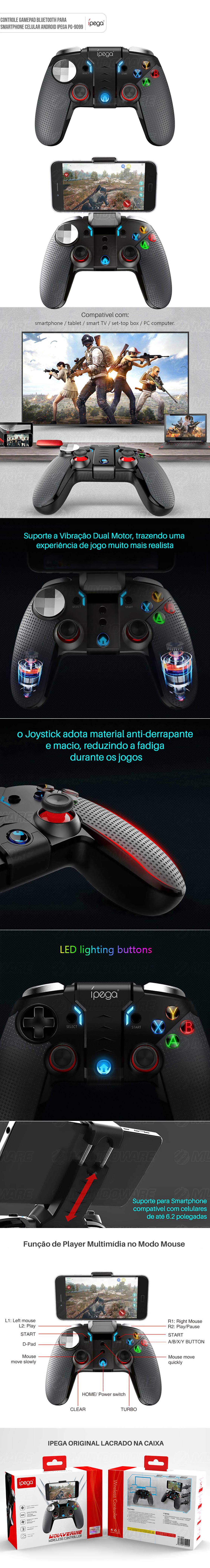 Ipega Wolverine PG-9099 Original Dual Motor Turbo Controle Gamepad Bluetooth para Celular Windows Android