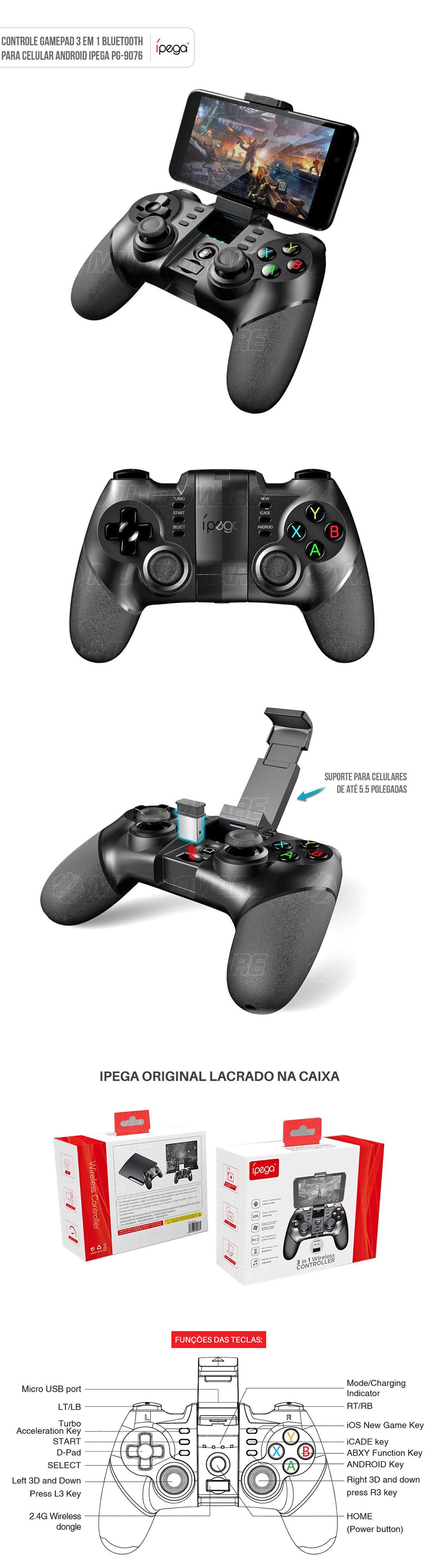 Controle Bluetooth para Celular Android Smart TV PC 3 em 1 Gamepad IPEGA PG-9076 Original