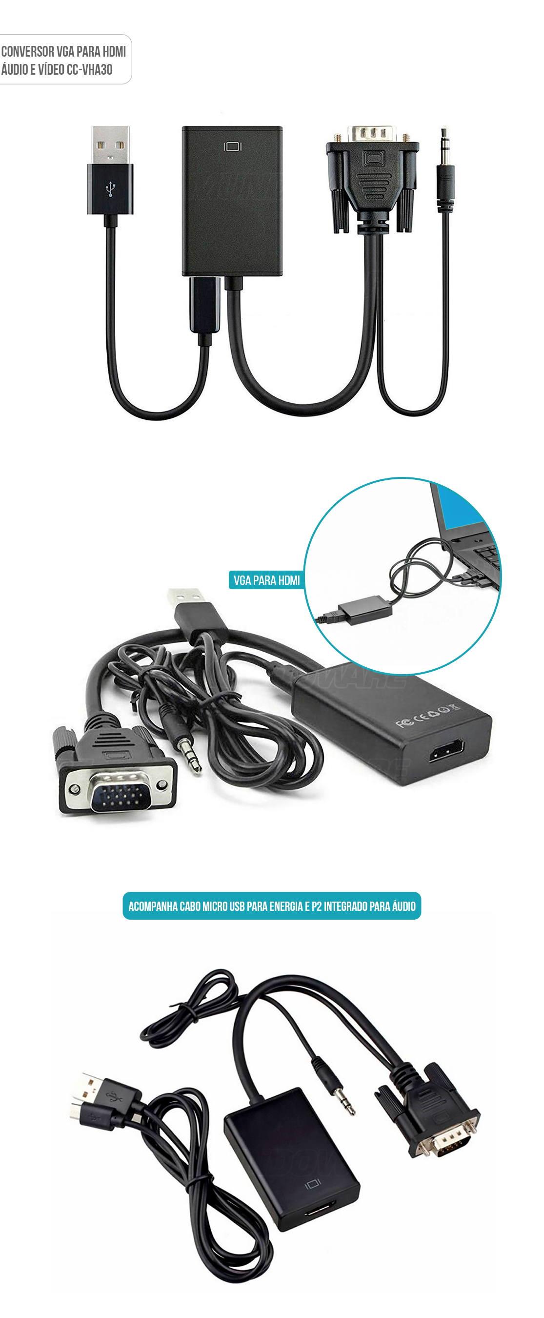 Adaptador VGA para HDMI com Áudio e Vídeo 1080p Alimentação por USB