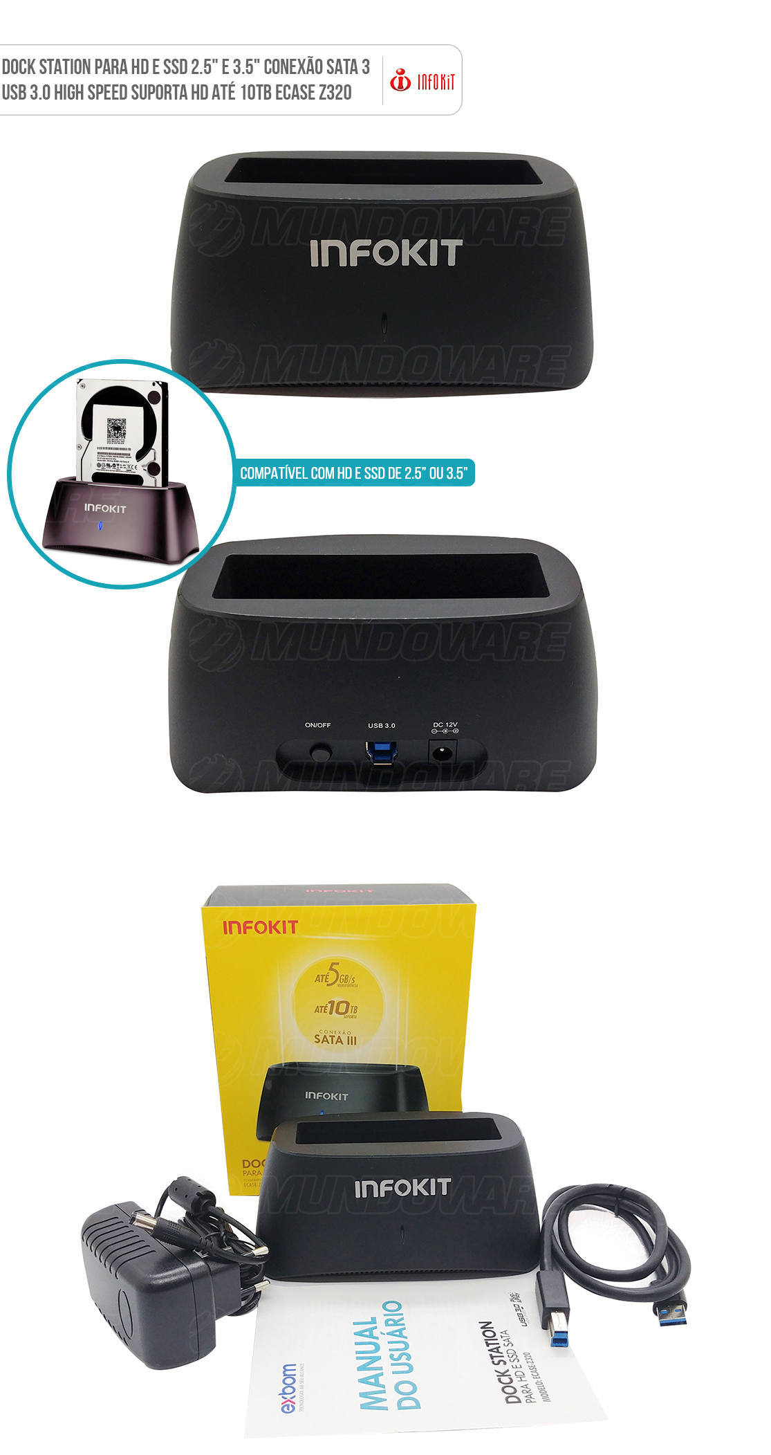 Case Externo Dock Station para HD 3.5 polegadas usb 3.0 compatível com SSD e HD de 2.5 polegadas