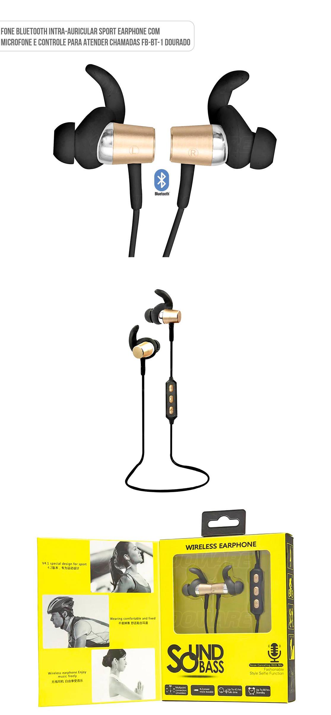 Fone de Ouvido intra-auricular esportista bluetooth Fbbt1 Preto com Dourado
