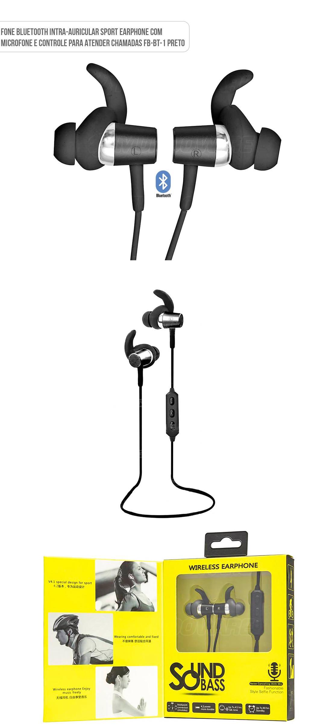 Fone de Ouvido intra-auricular esportista bluetooth Fbbt1