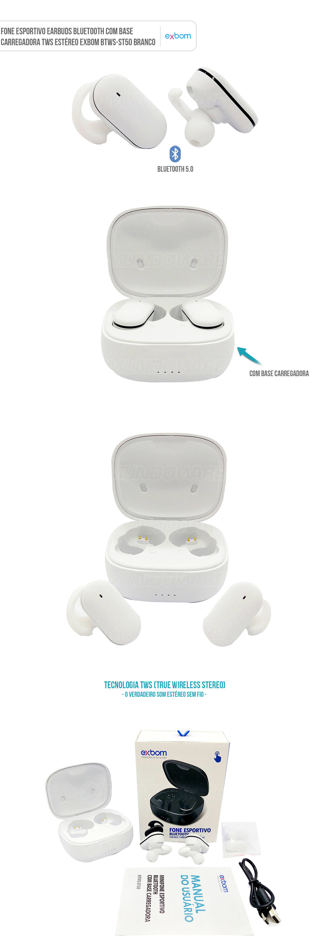 Fone Sem Fio Esporte Bluetooth com Base Carregadora TWS Estéreo