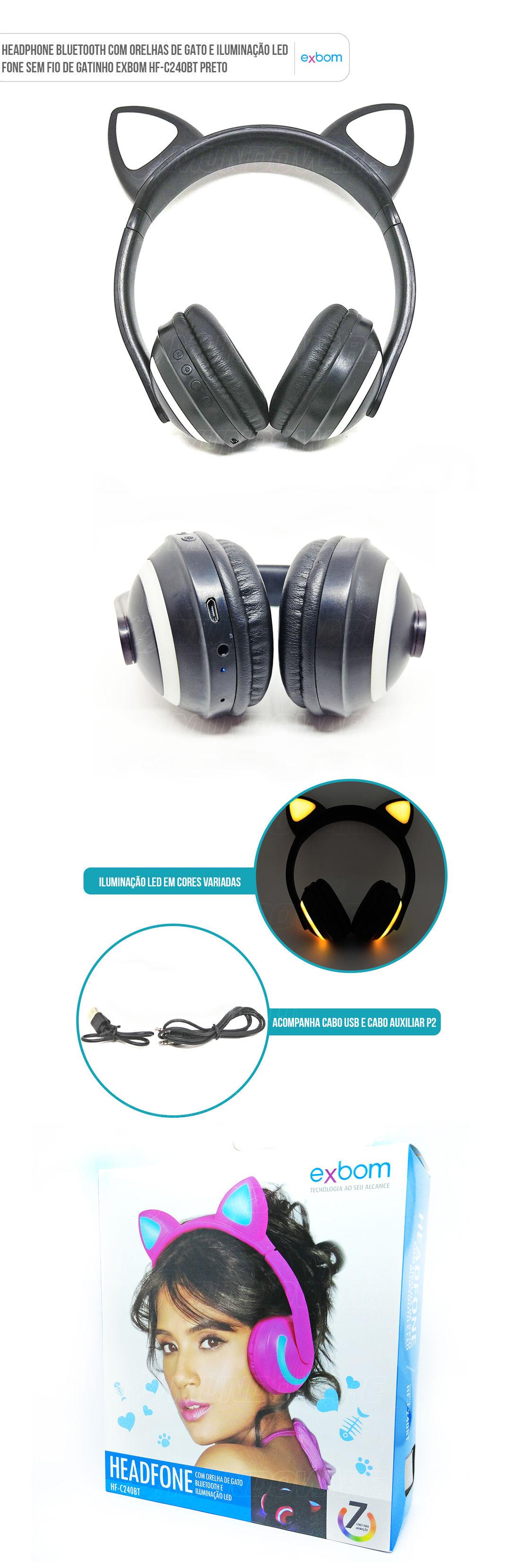 Fone Orelhas de Gatinho Sem Fio Bluetooth com Iluminação LED