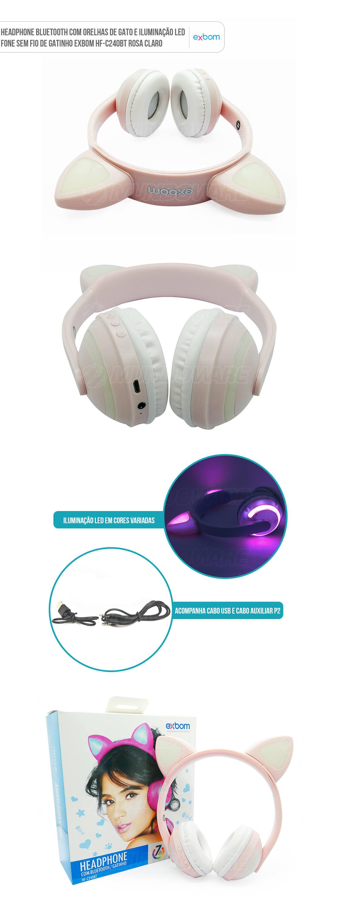 Fone Orelhas de Gatinho Sem Fio Bluetooth com Iluminação LED rosa claro