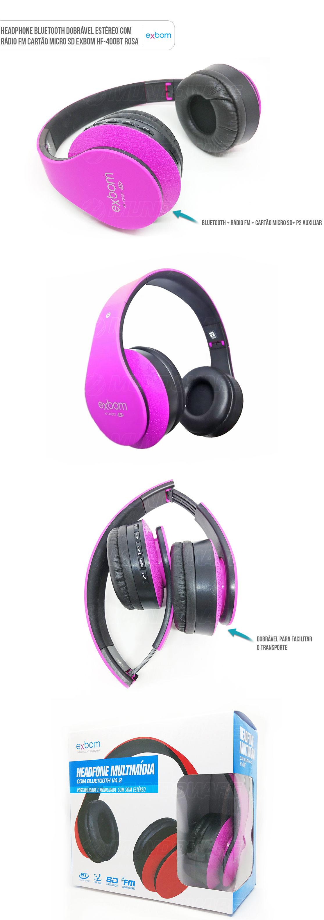 Headfone sem fio dobrável com FM SD Card Exbom HF400BR Bluetooth