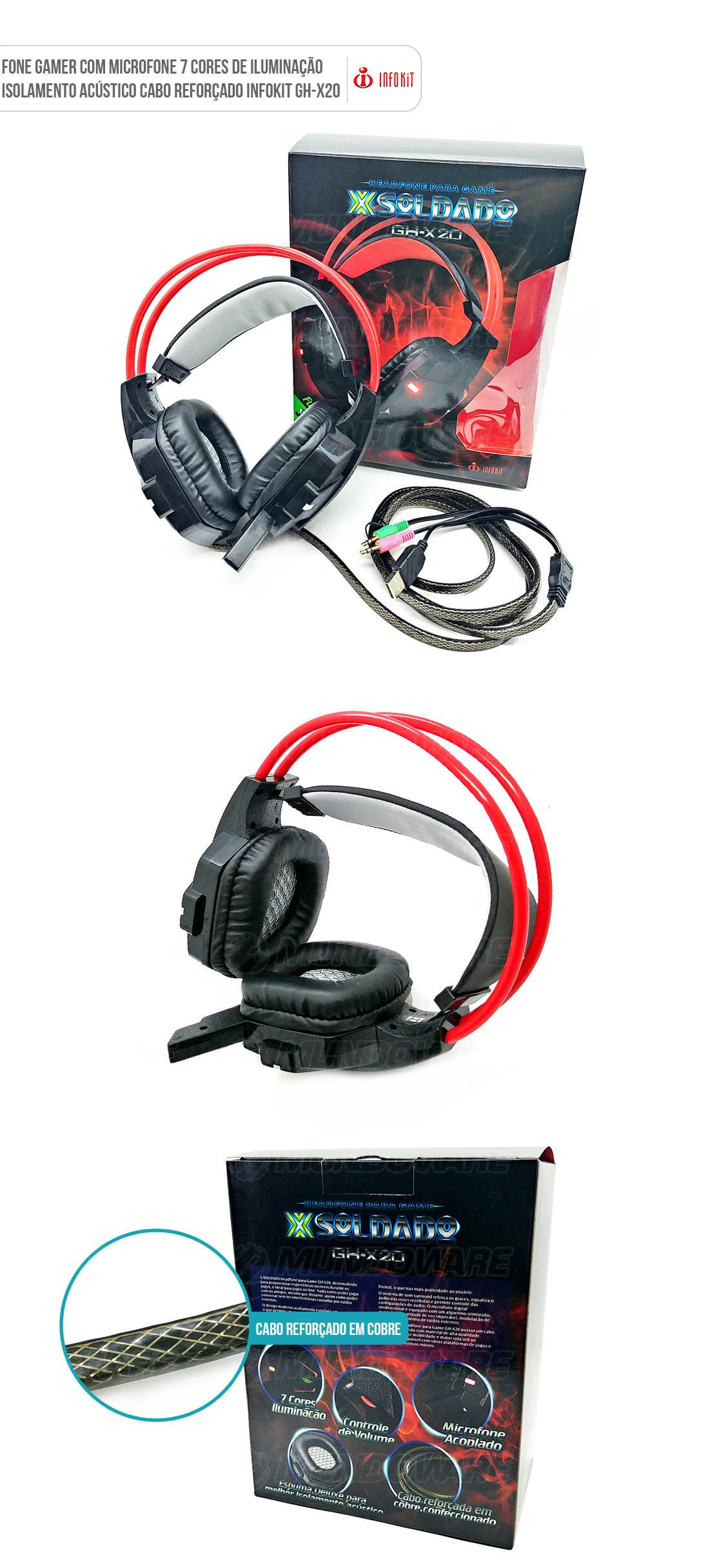 Fone de Ouvido Gamer com Microfone acoplado 7 cores Led cabo reforçado