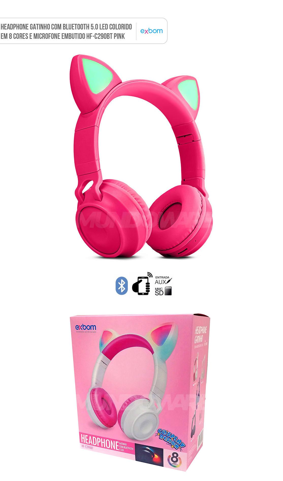 Headphone Gatinho com Bluetooth 5.0 Dobrável Iluminação LED em 8 Cores Microfone Embutido HF-C290BT Pink