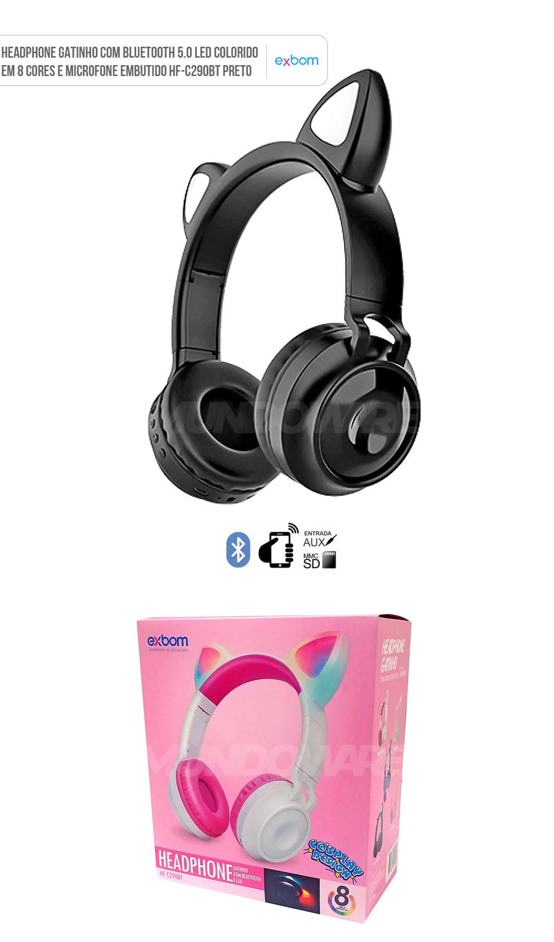 Headphone Gatinho com Bluetooth 5.0 Dobrável Iluminação LED em 8 Cores Microfone Embutido HF-C290BT Preto