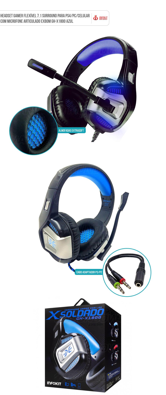 Headset Gamer Flexível 7.1 Surround para Ps4/PC/Celular com Microfone Articulado Infokit GH-X1800 Azul