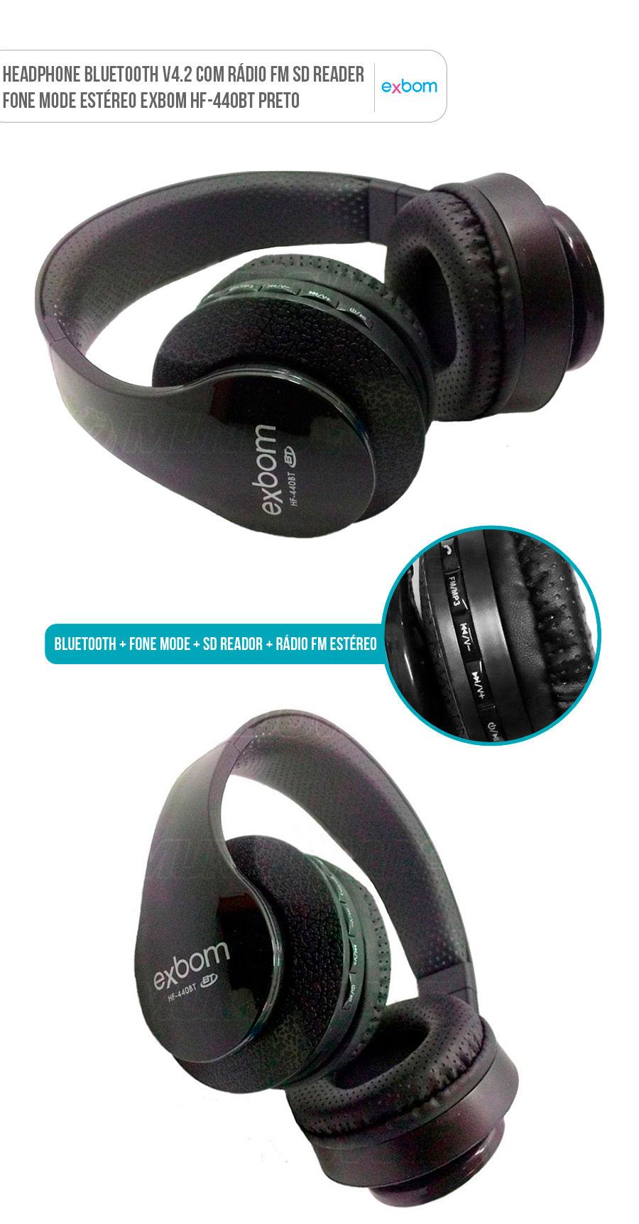 Fone Headphone Bluetooth Multimídia Preto com FM Cartão SD Headfone