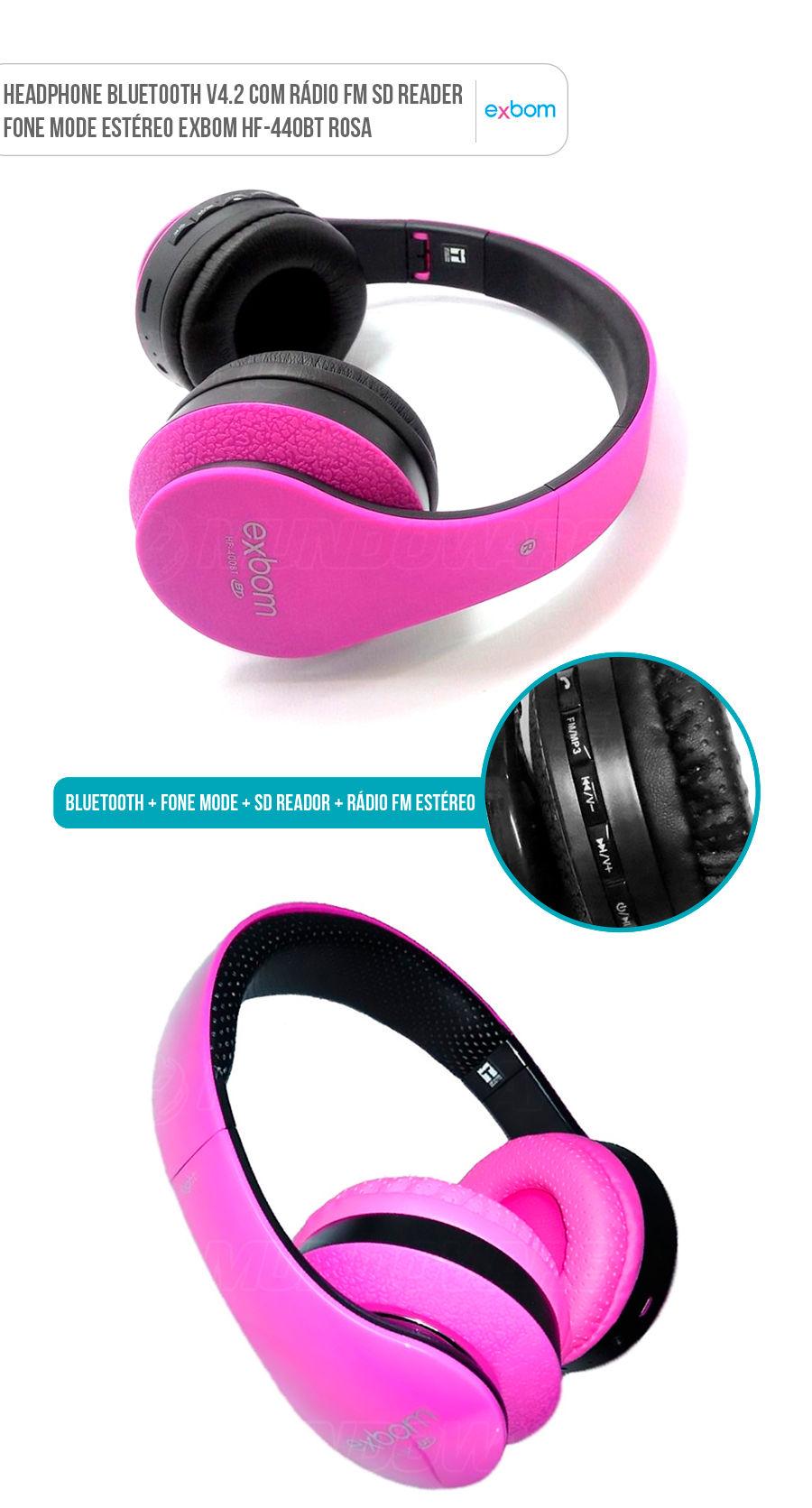 Fone Headphone Bluetooth Multimídia Pink Rosa com FM Cartão SD Headfone