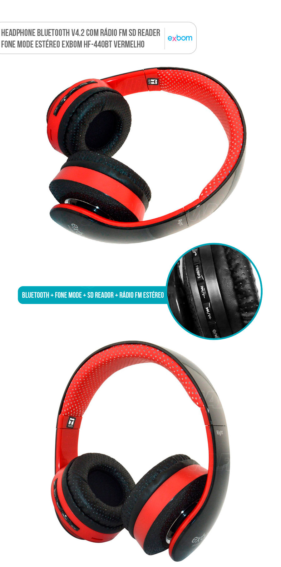 Fone Headphone Bluetooth Multimídia Vermelho com FM Cartão SD Headfone