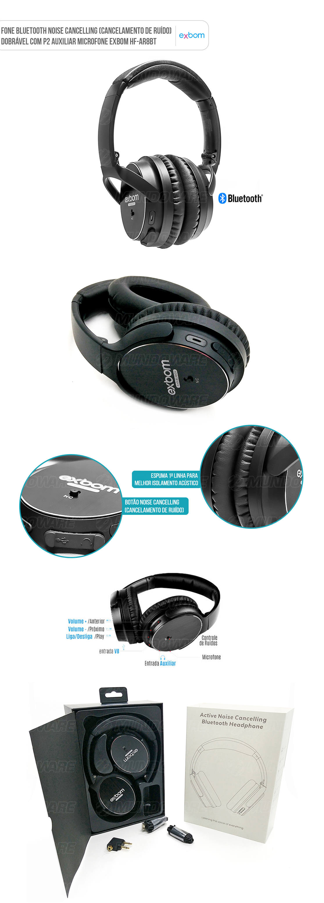 Headphone com Noise Cancelling sem fio Bluetooth Preto