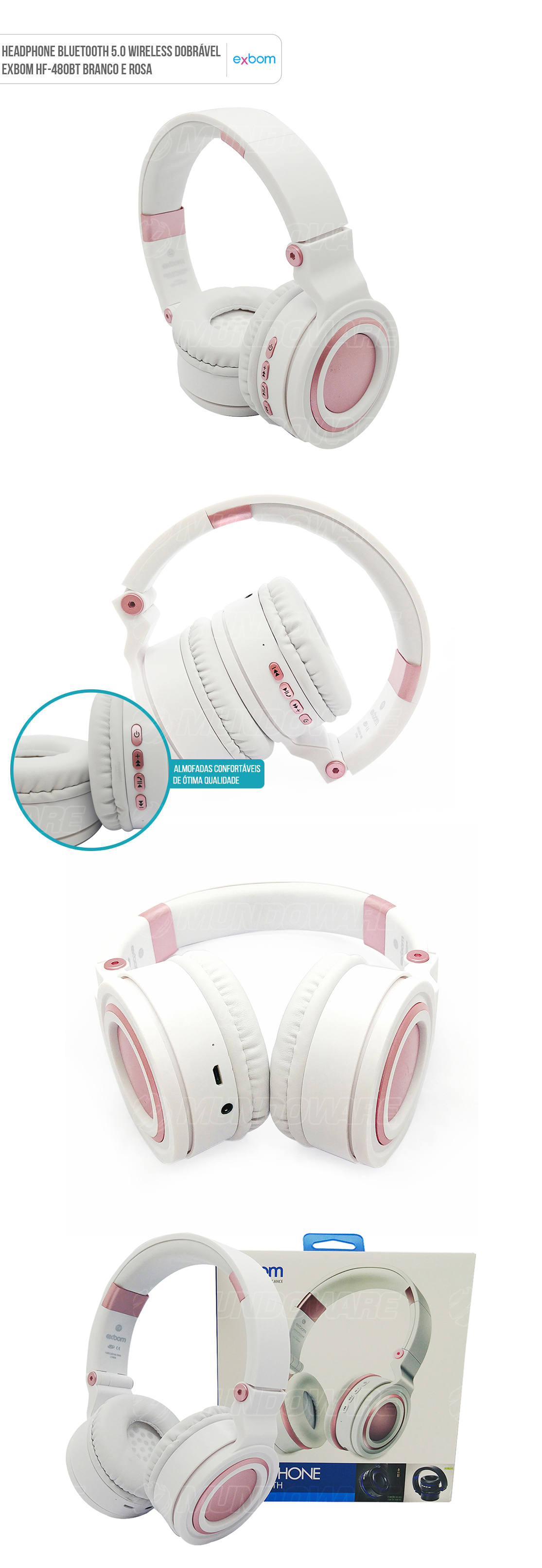 Headphone Bluetooth 5.0 Sem fio com bateria interna e alças dobráveis HF-480br Branco com Rosal