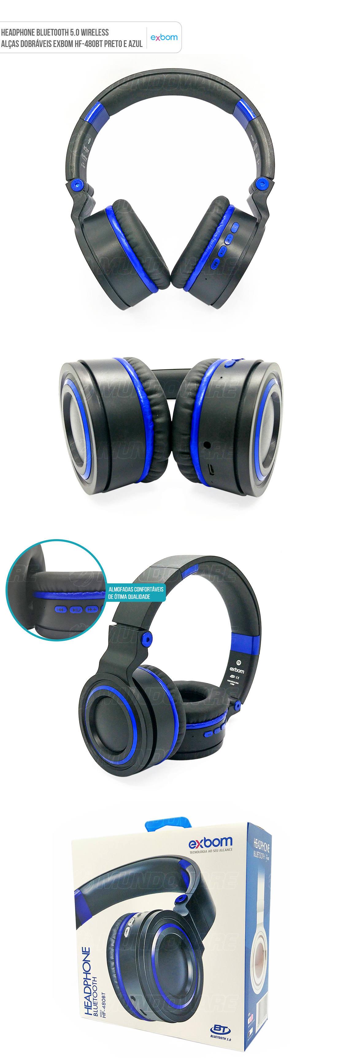 Headphone Bluetooth 5.0 Sem fio com bateria interna e alças dobráveis HF-480br preto com azul