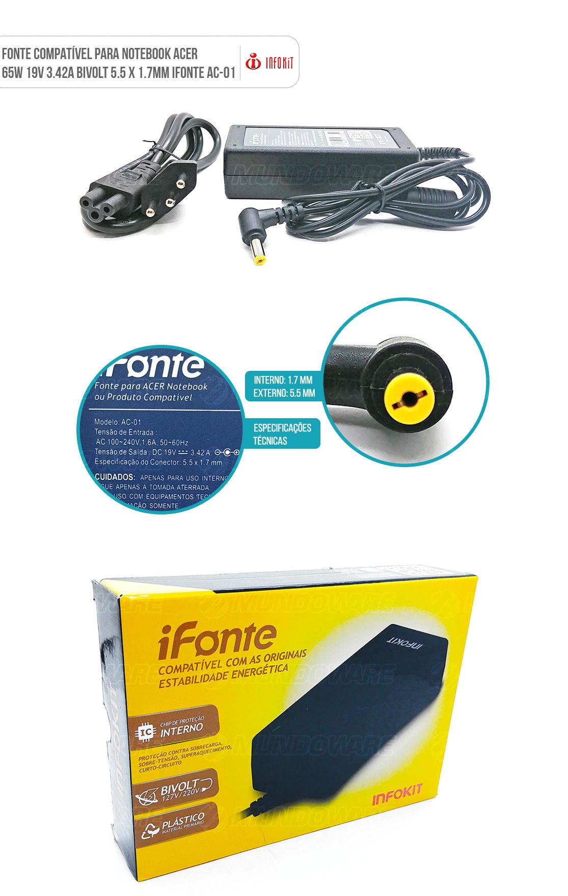Fonte Carregador para Notebook Compatível com marca Acer conector pino amarelo