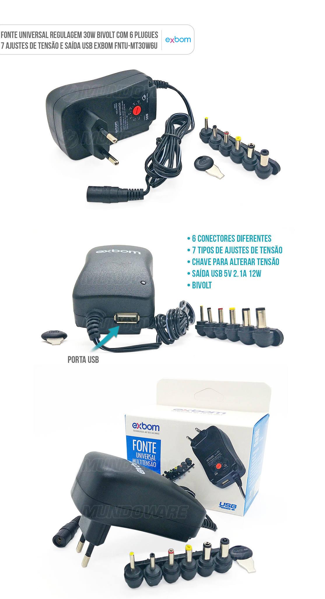 Fonte de Energia Universal regulatem até 30W com 6 plugues e saída USB