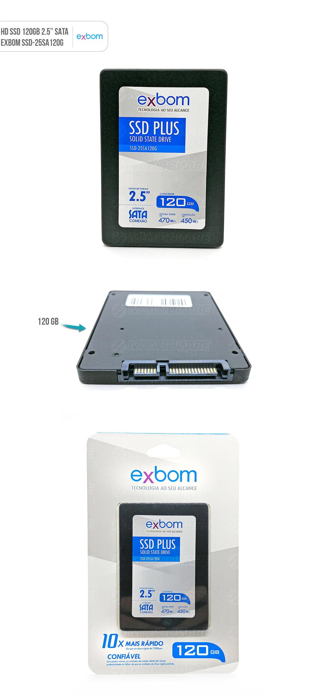 SSD 120 GB 10x mais rápido que HD Normal Solid State Drive da Exbom