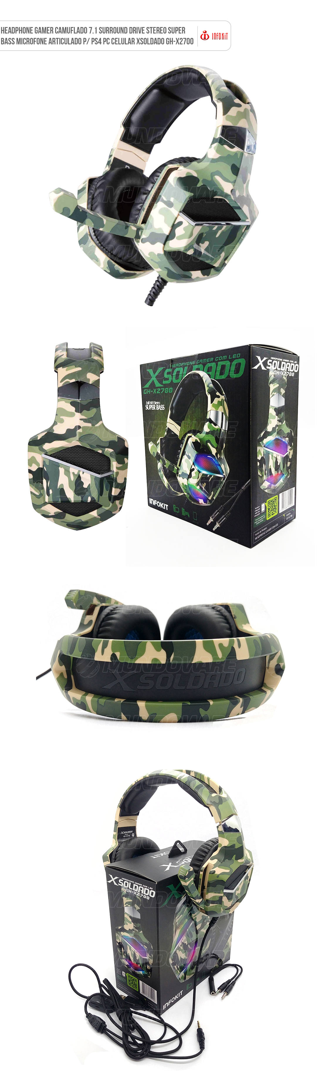 Headphone Gamer Camuflado 7.1 Surround Drive Stereo Super Bass Microfone Articulado para PS4 Computador Celular XSoldado GHX2700