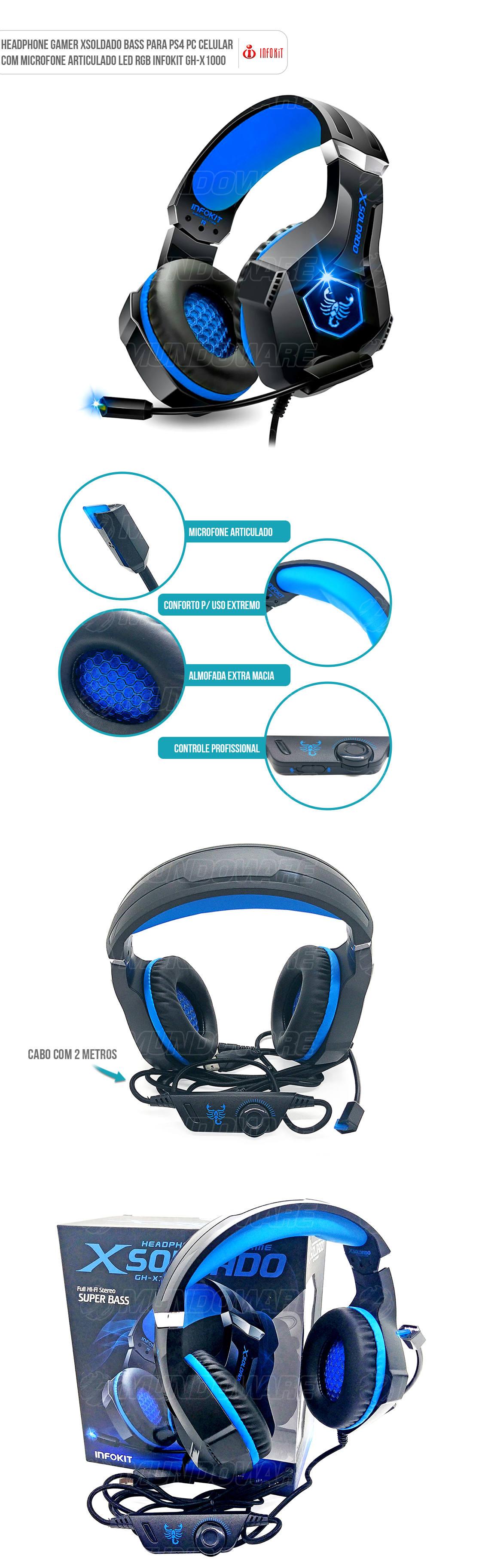Fone Gamer com LEd Microfone Almofadado Scorpion X1000 Azul