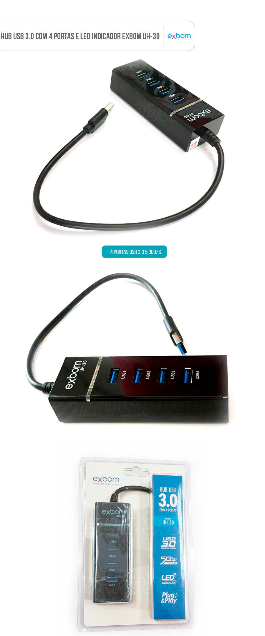 HUB USB 3.0 com 4 Portas 5Gbps e Led Indicador