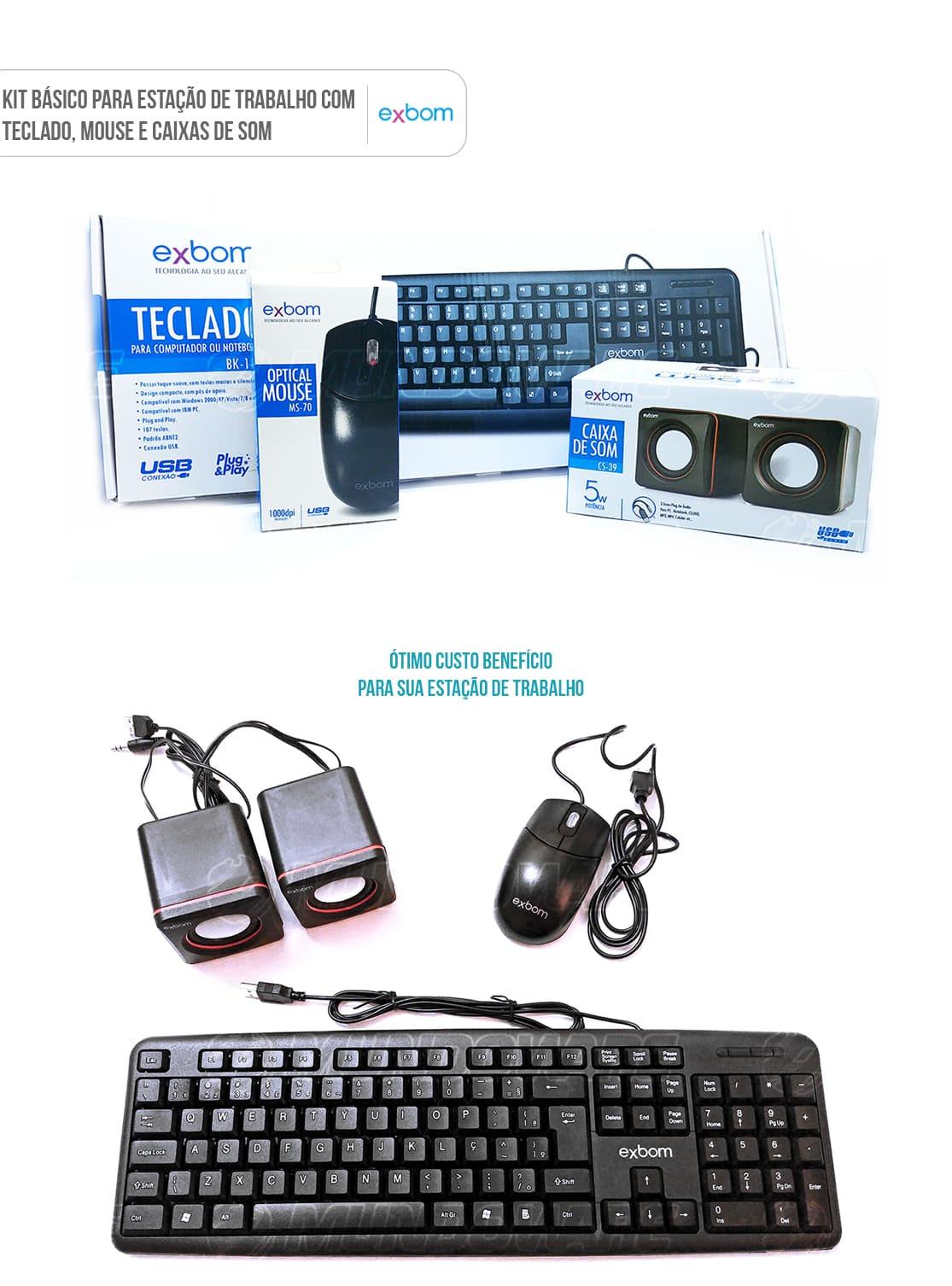 Kit de acessórios para computador básico com teclado mouse e caixas de som pretos