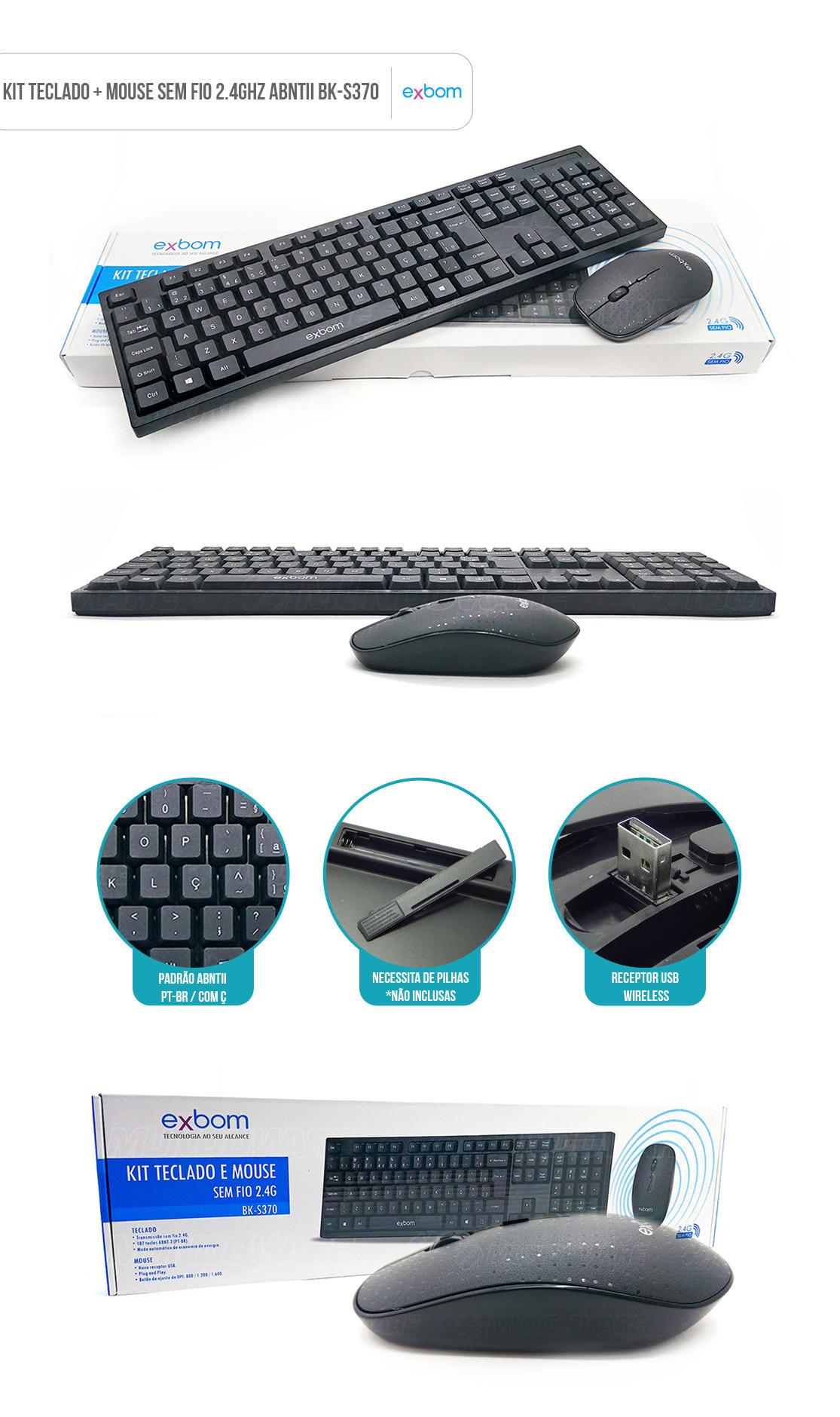kit teclado + mouse sem fio wireless preto bk-s370