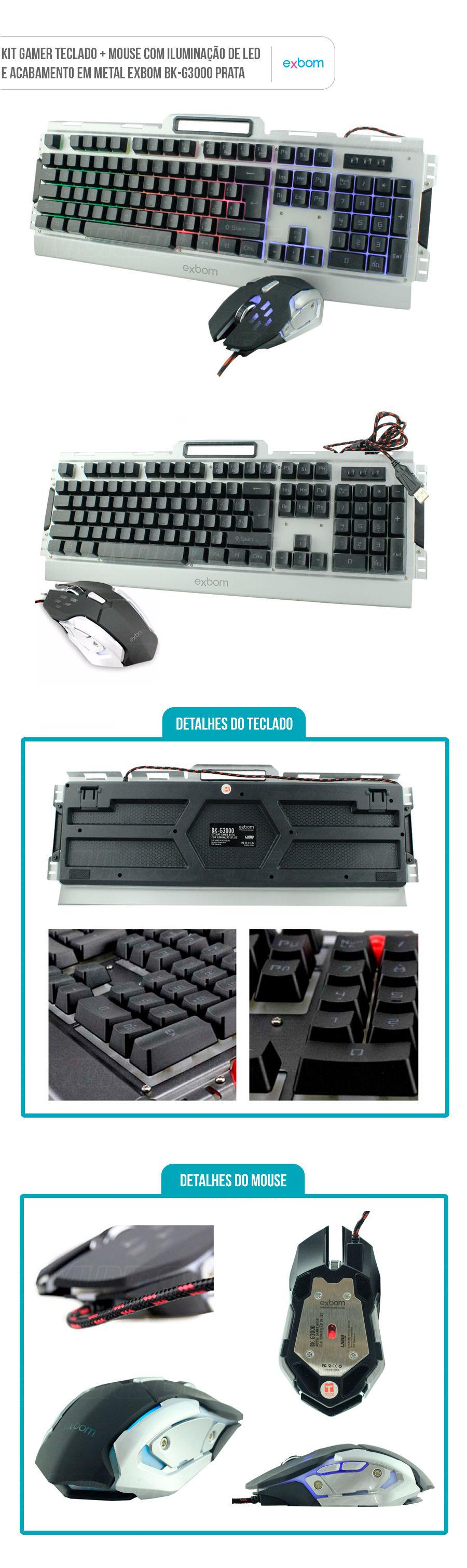 Kit Teclado e Mouse Gamer Semimecânico com Iluminação Led e Acabamento em Metal cor Prata