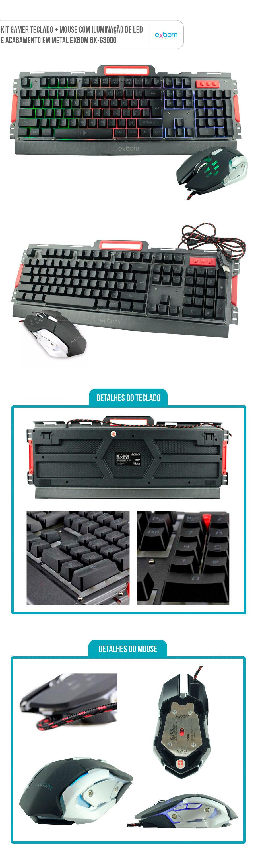 Teclado e Mouse Gamer Semimecânico com Iluminação Led e Acabamento em Metal