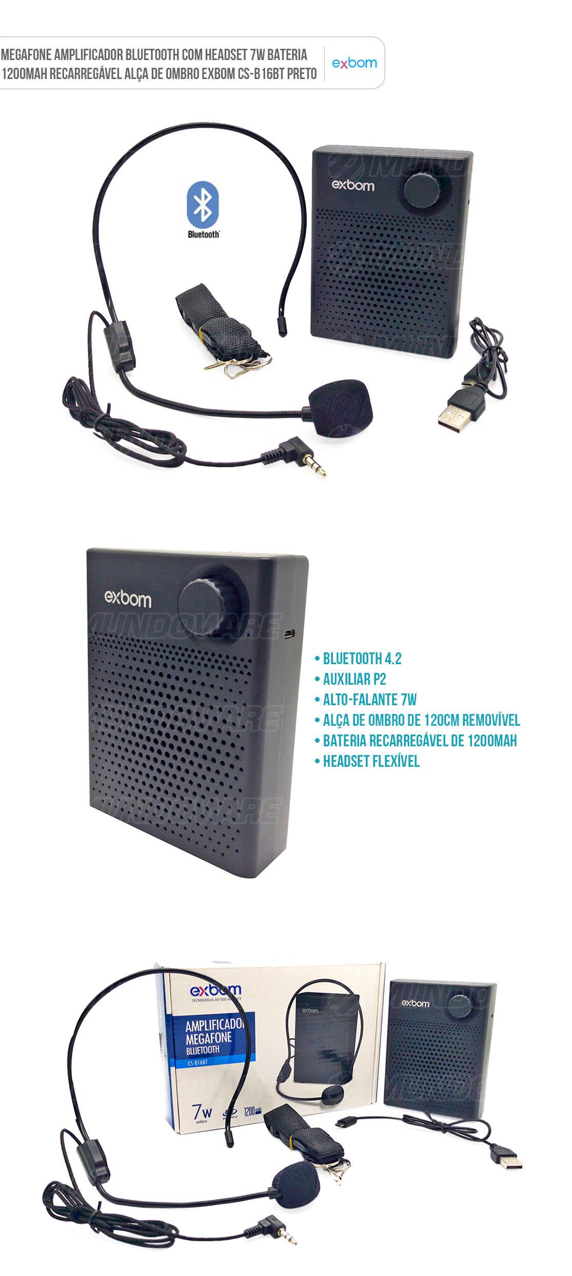 Amplificador Megafone bluetooth com Headset e Bateria interna para apresentações em público
