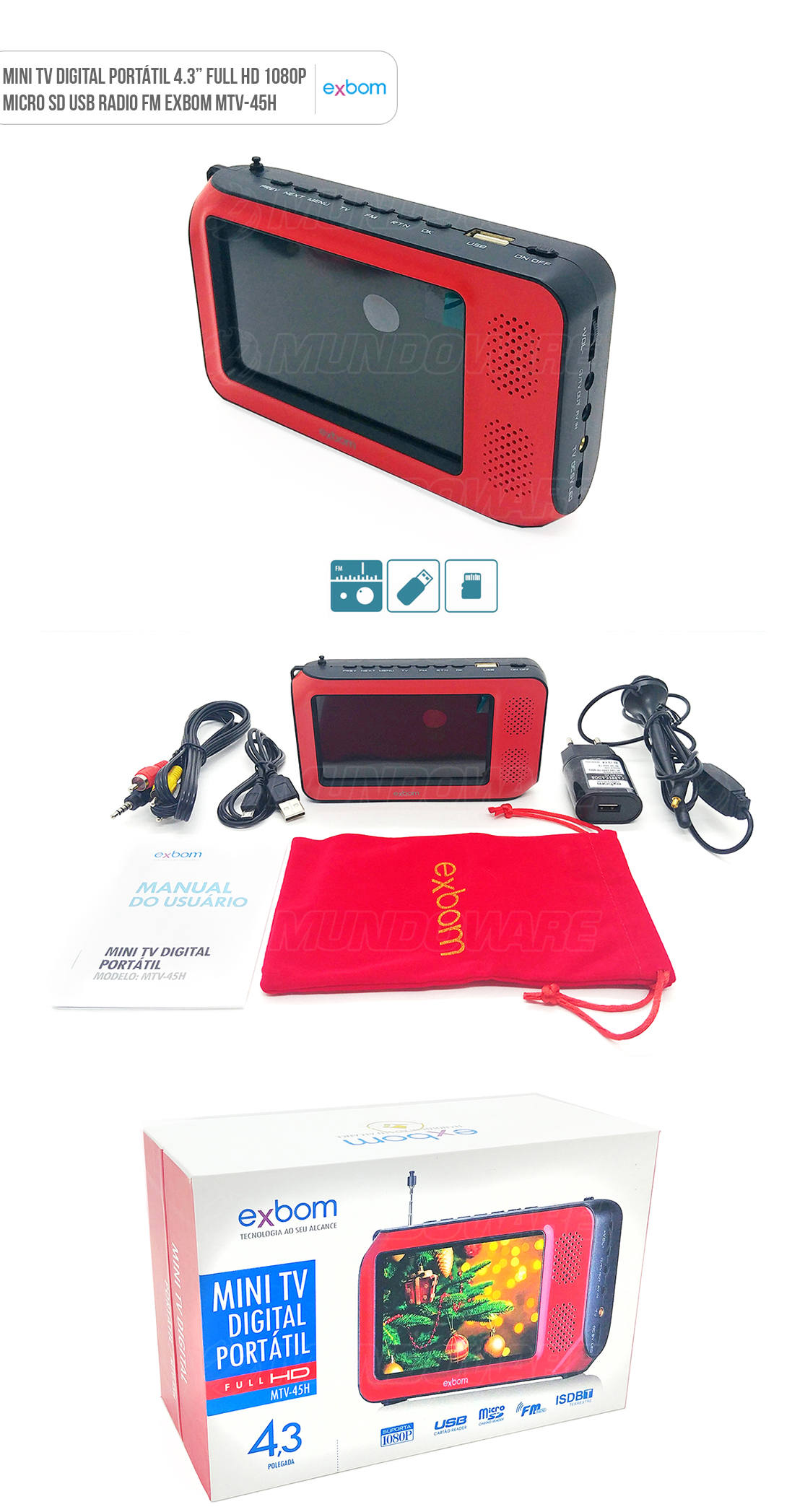 Mini Multimidia TV Digital Portátil 4.3 polegadas Vermelha