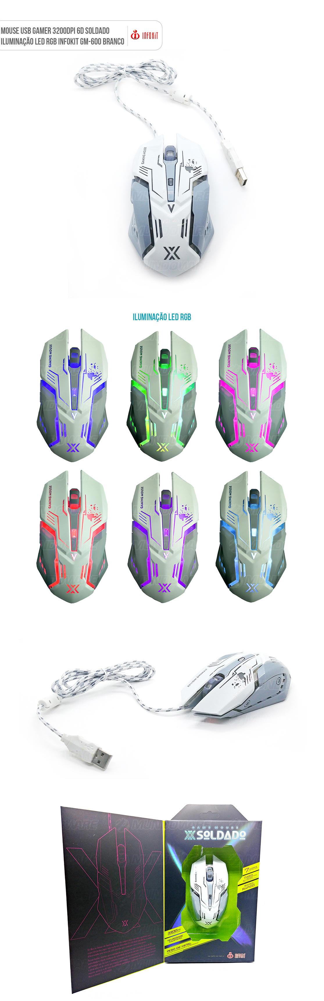 Mouse gamer usb com iluminação led 3200dpi branco