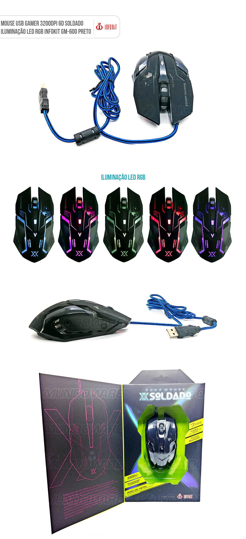 Mouse gamer usb com iluminação led 3200dpi preto