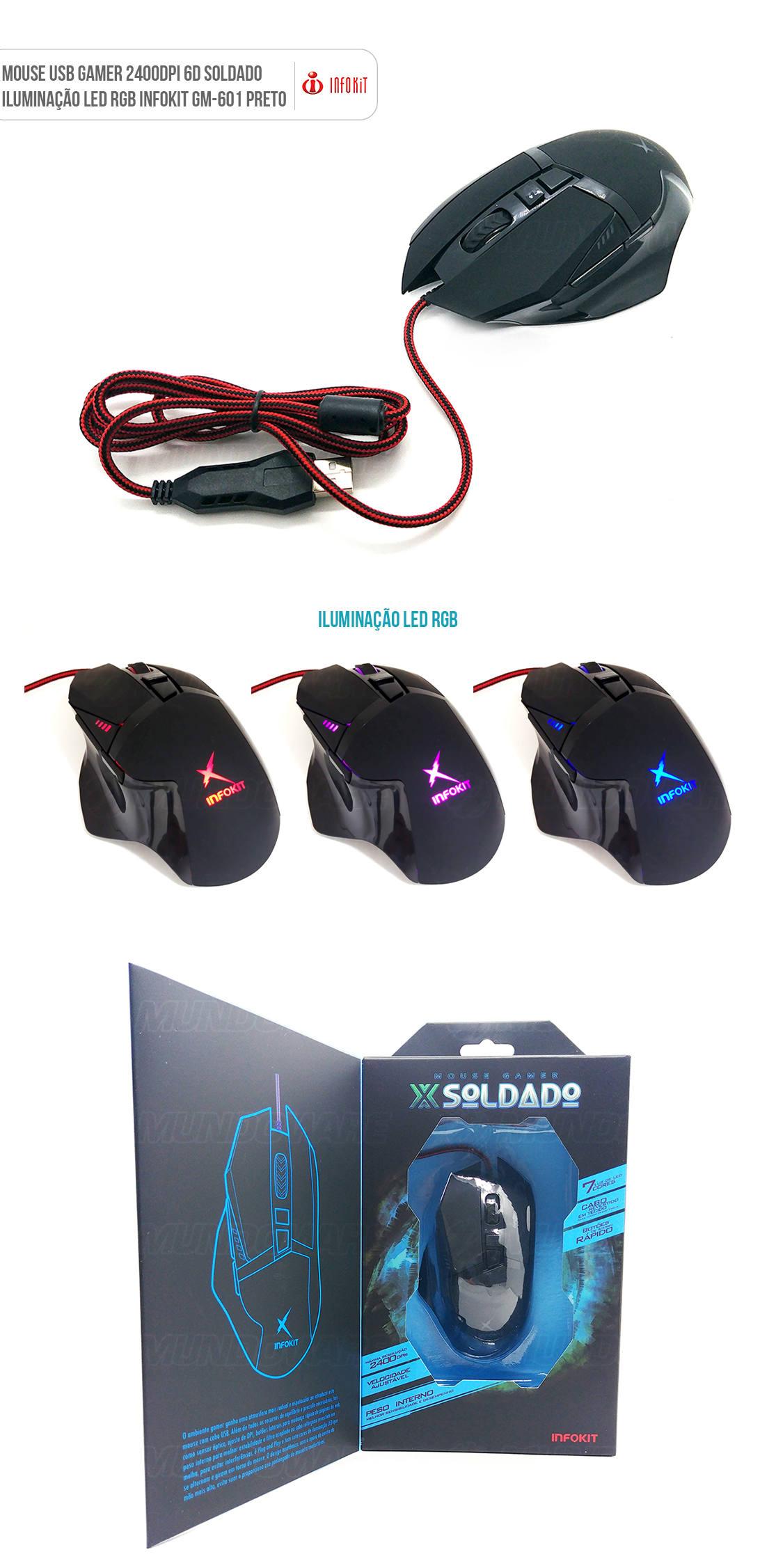 Mouse gamer usb com iluminação led 3200dpi preto GM601