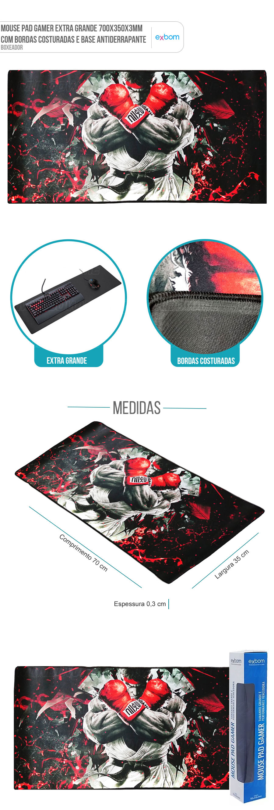 Mouse Pad Gaming Extra Grande Large Gamer Boxeador