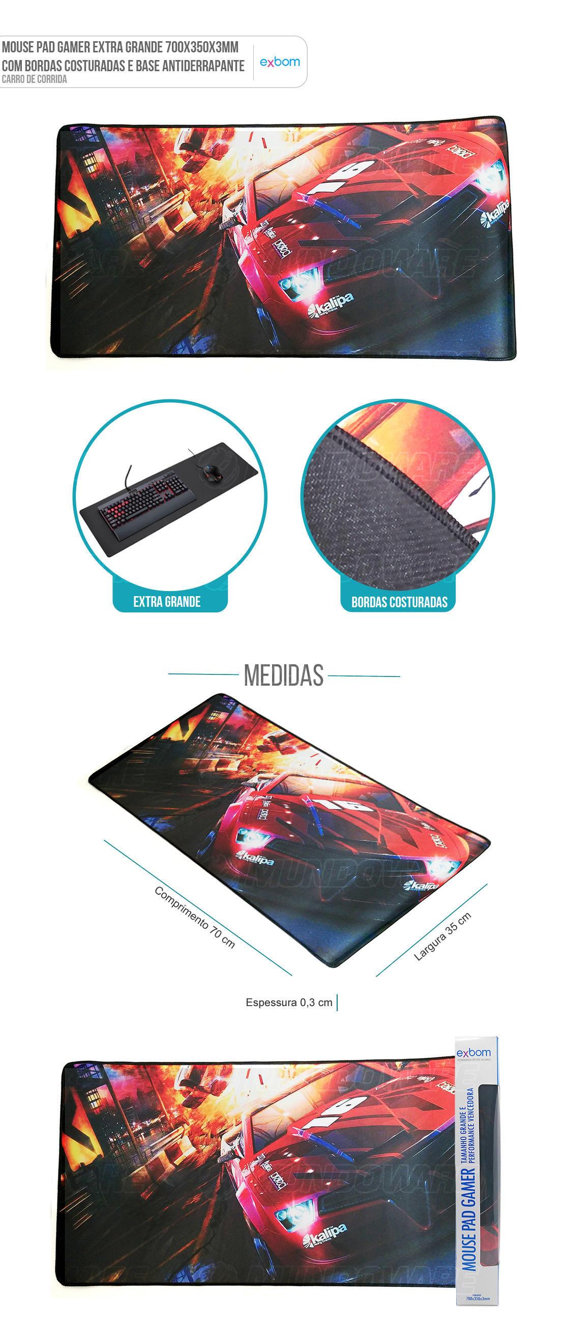 MousePad Gaming Extra Grande Large Gamer Carro de Corrida