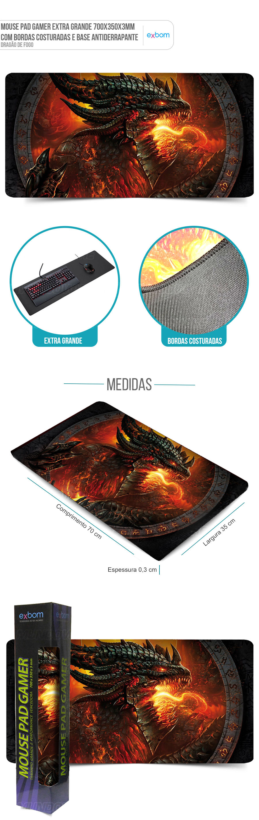Mouse Pad Gaming Extra Grande Large Gamer Dragão de Fogo