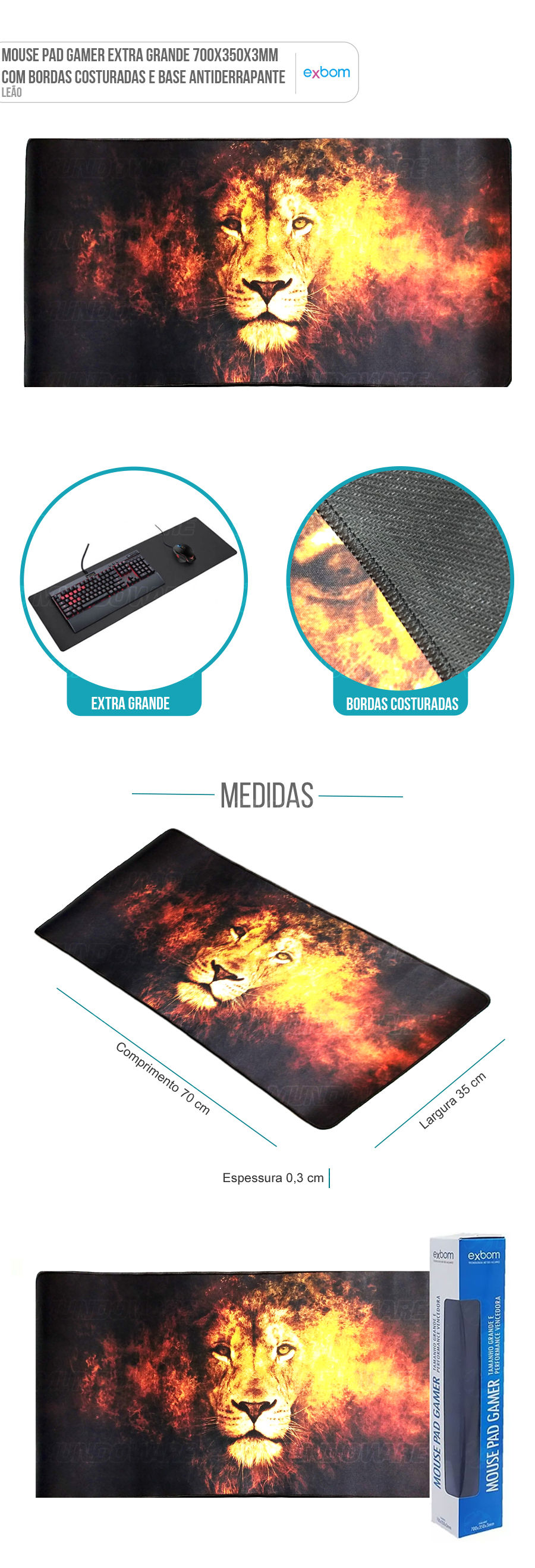 Mouse Pad Gaming Extra Grande Large Gamer Leão