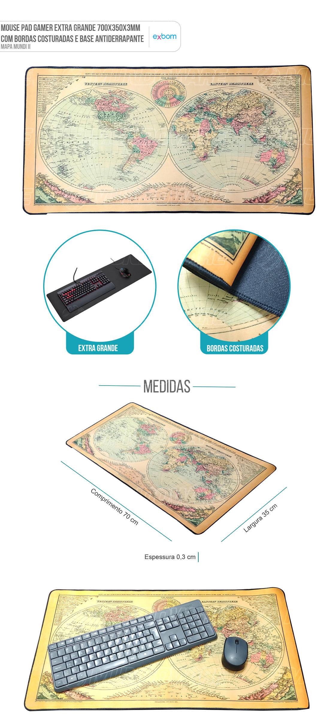 MousePad Gaming Extra Grande Large Gamer Mapa Mundi II