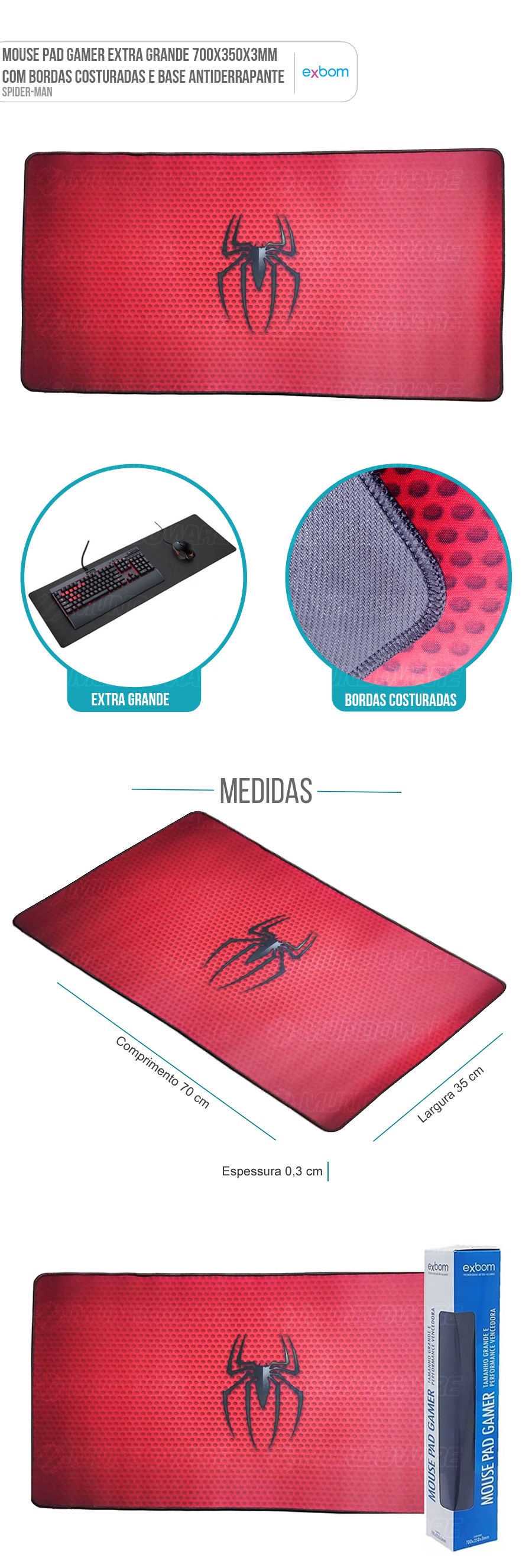 Mouse Pad Gaming Extra Grande Large Gamer Spider