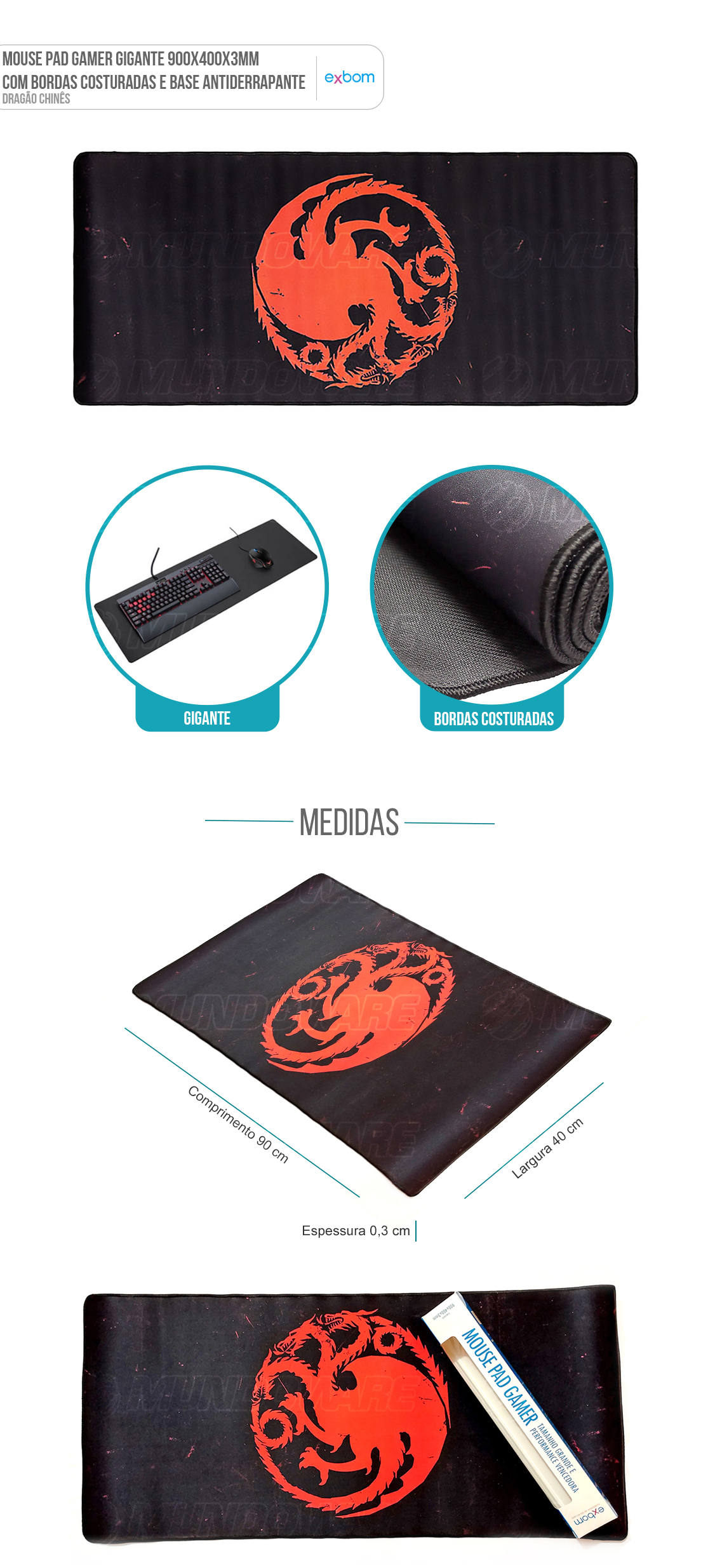 Mouse Pad Gaming Gigante Gamer Dragão Chines