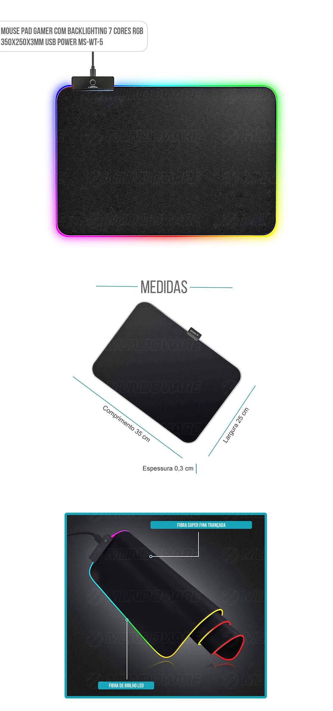 Mouse Pad Gamer com iluminação led nas bordas 35x25x3