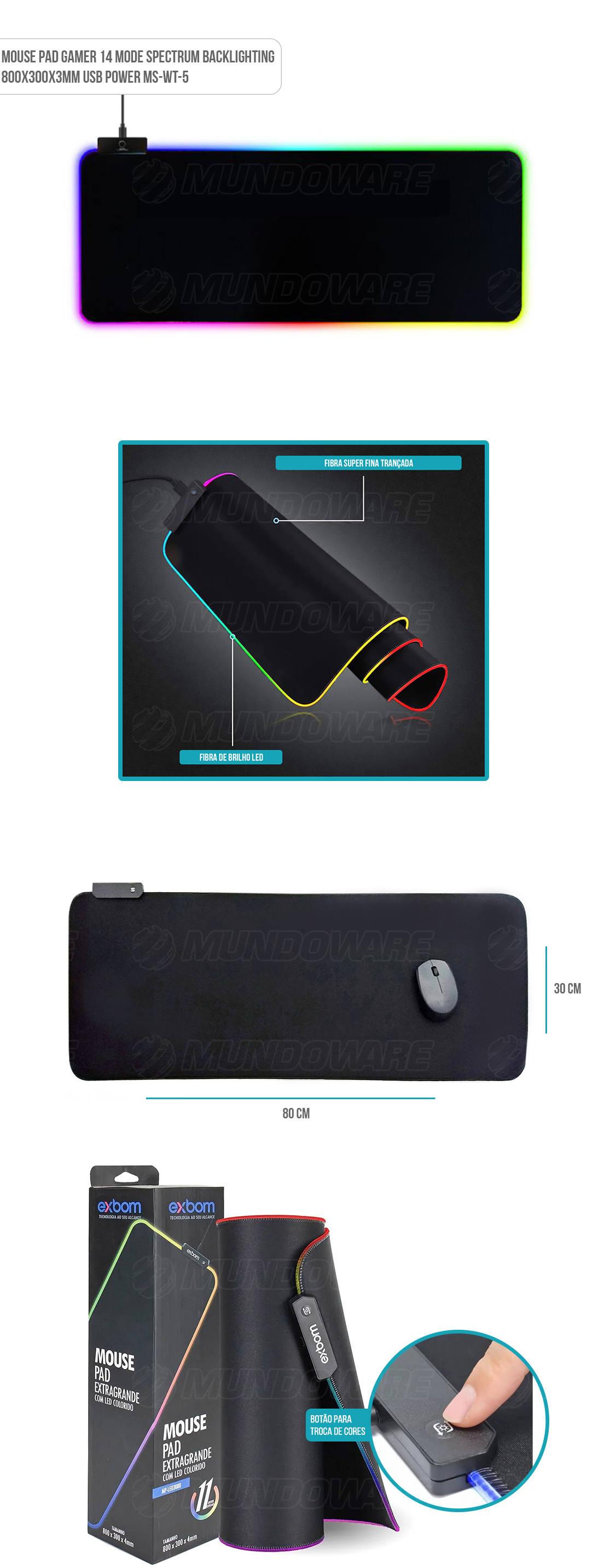 Mouse Pad Gamer com iluminação led nas bordas 80x30x3