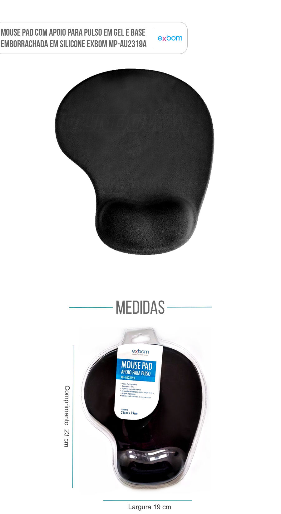 Mouse Pad apoio para pulso em gel silicone cor preta